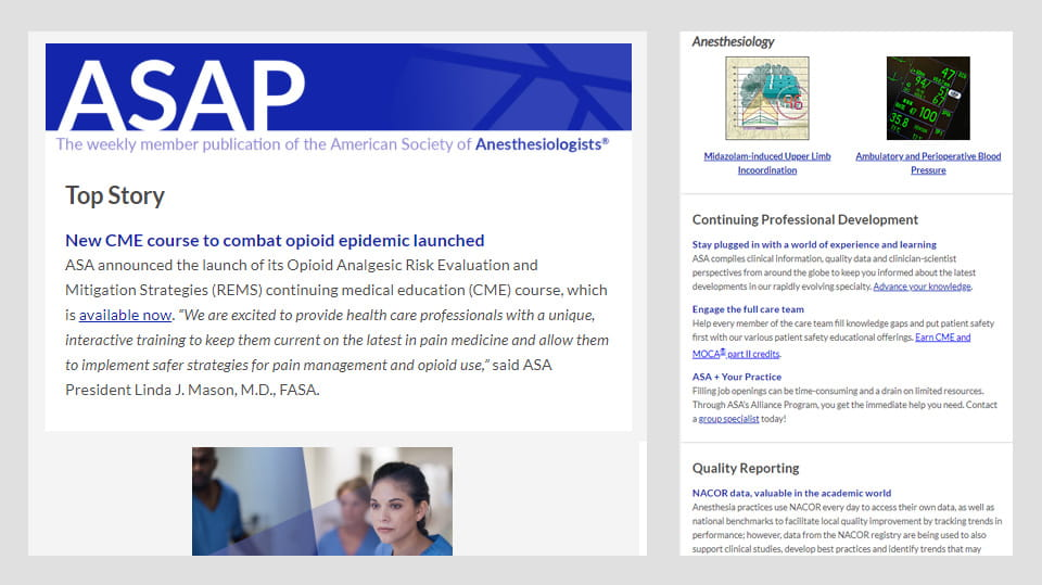 Image of the weekly ASA member publication ASAP