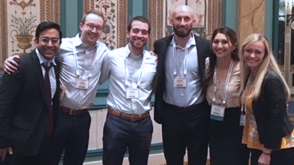 Dr. Rajeev Saxena and fellow residents Daniel, Jordan, Kandice, Nellab, and Tristan at ASA's Practice Management conference
