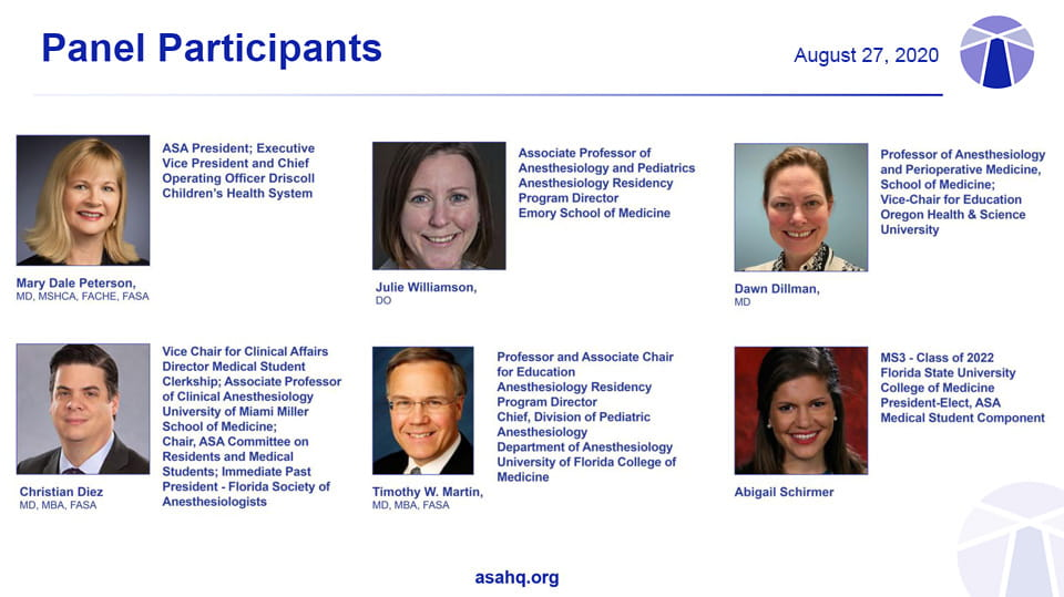 Panelists for the Medical Students Town Hall on August 27