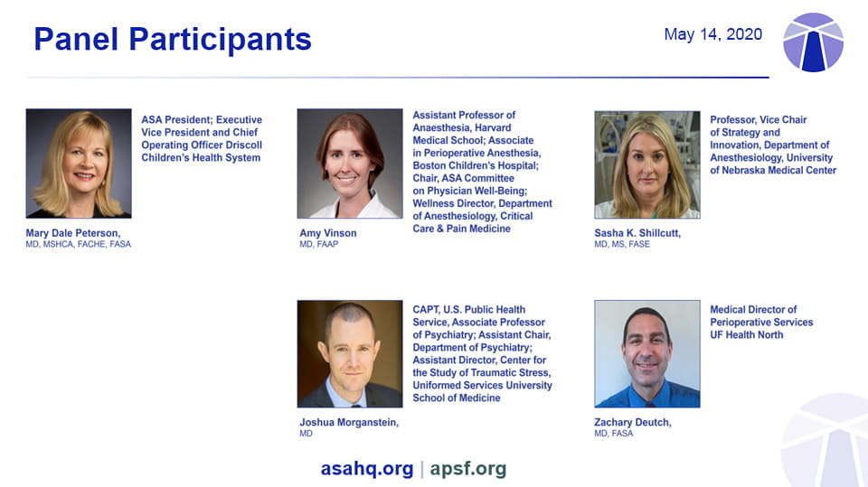ASA COVID-19 Town Hall May 14, 2020 panelists