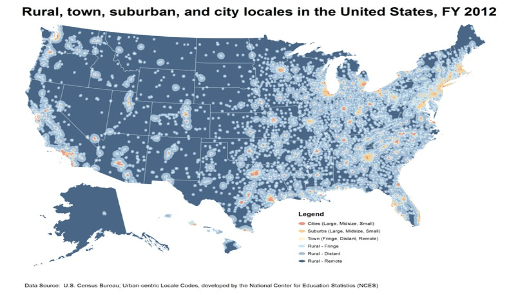Rural, town, suburban, and city locales in the United States, FY 2012