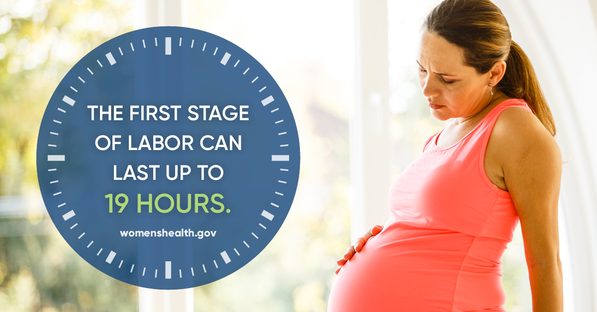 """""""he first stage of labor can last up to 19 hours"""" - womenshealth.gov"""