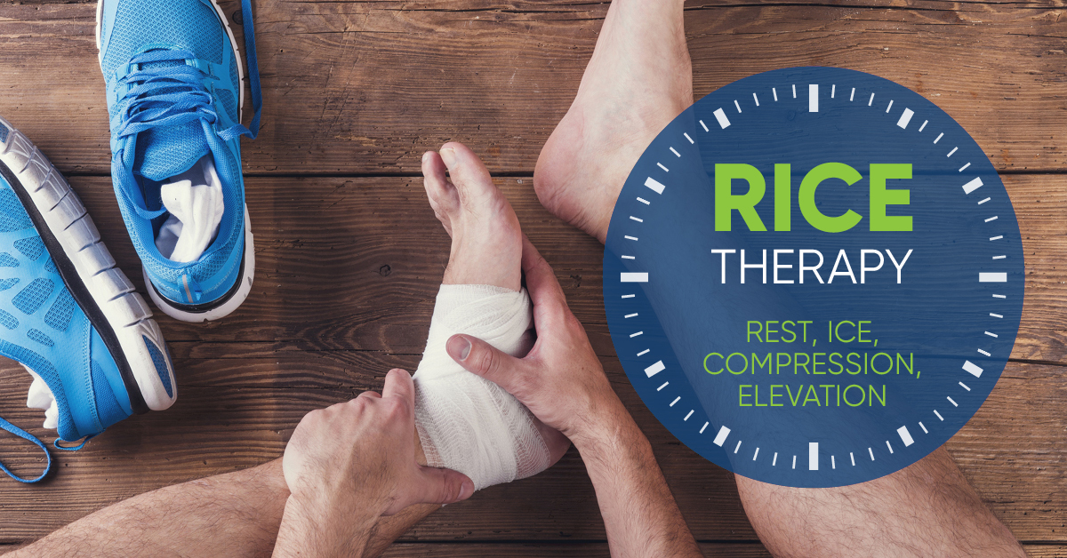"""Rice therapy - Rest, Ice, Compression, Elevation"""