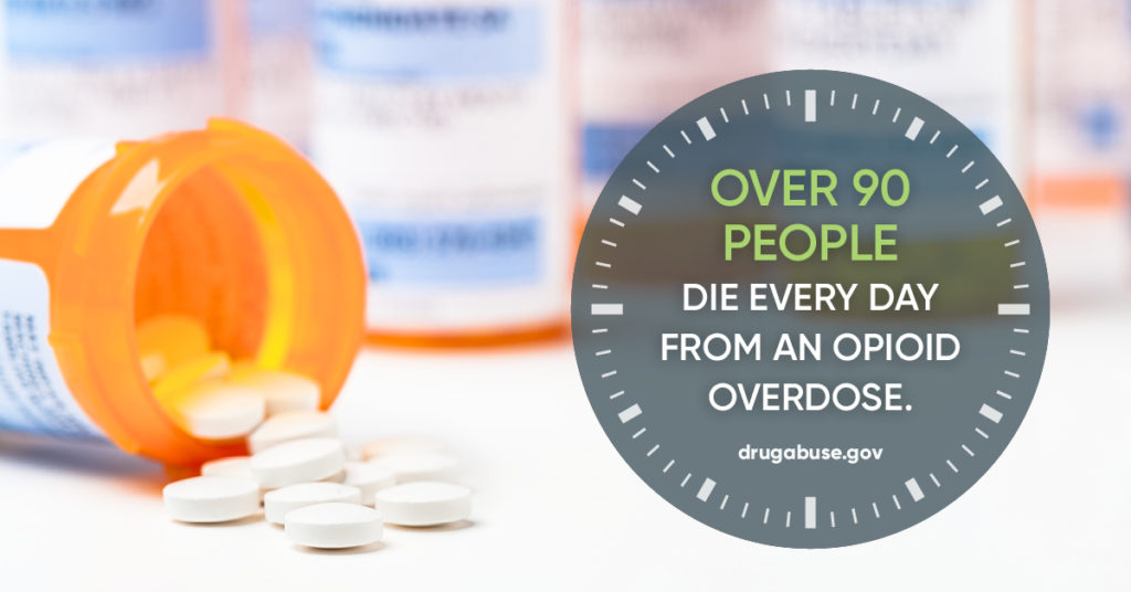"""Over 90 people die every day from an opioid overdose."" - drugabuse.gov"
