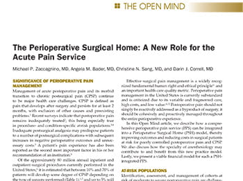 The Perioperative Surgical Home: A New Role for the Acute Pain Service